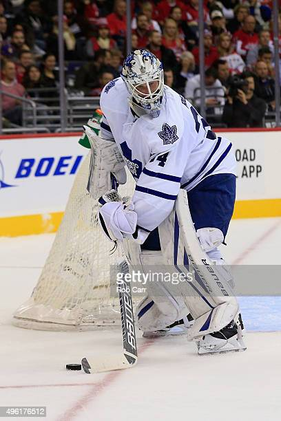 Goalie James Reimer of the Toronto Maple Leafs moves the puck against the Washington Capitals during the first period at Verizon Center on November 7...