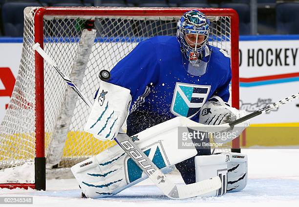 Goalie Jaroslav Halak of Team Europe makes a save during a practice at the Centre Videotron on September 7 2016 in Quebec City Quebec Canada