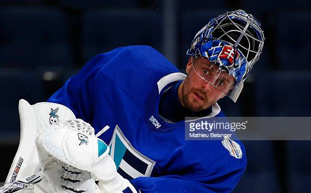 Goalie Jaroslav Halak of Team Europe shoots a puck during a practice at the Centre Videotron on September 7, 2016 in Quebec City, Quebec, Canada.