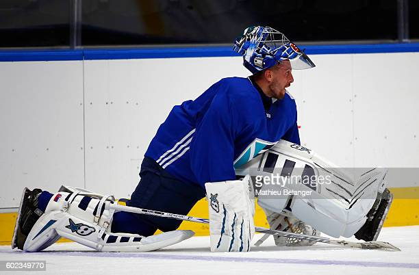 Goalie Jaroslav Halak of Team Europe stretches during a practice at the Centre Videotron on September 7, 2016 in Quebec City, Quebec, Canada.