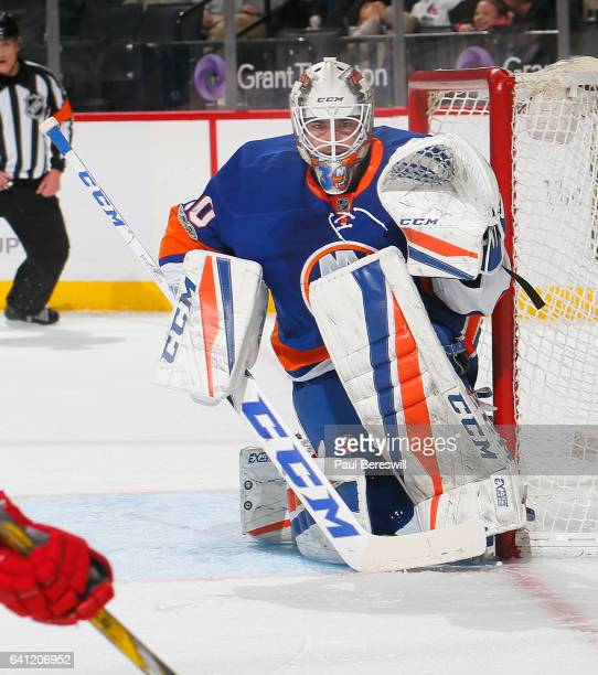 Goalie JeanFrancois Berube of the New York Islanders defends the goal in an NHL hockey game against the Carolina Hurricanes at Barclays Center on...