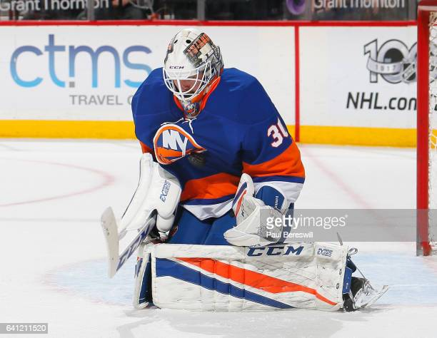 Goalie JeanFrancois Berube of the New York Islanders makes a save in an NHL hockey game against the Carolina Hurricanes at Barclays Center on...
