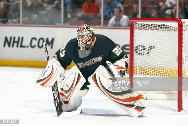 Goalie Jean-Sebastien Giguere of the Anaheim Ducks guards the net before the game against the St. Louis Blues at the Honda Center on December 10,...