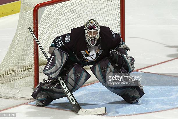 Goalie JeanSebastien Giguere of the Anaheim Mighty Ducks in net during the game against the Dallas Stars on February 16 2004 at the Arrowhead Pond in...