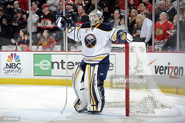 Goalie Jhonas Enroth of the Buffalo Sabres waits for play to begin during the NHL game against the Chicago Blackhawks on January 18 2012 at the...