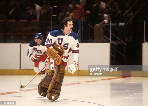 Goalie Jim Craig of Team USA skates on the ice before an exhibition game against the Soviet Union on February 9 1980 at the Madison Square Garden in...