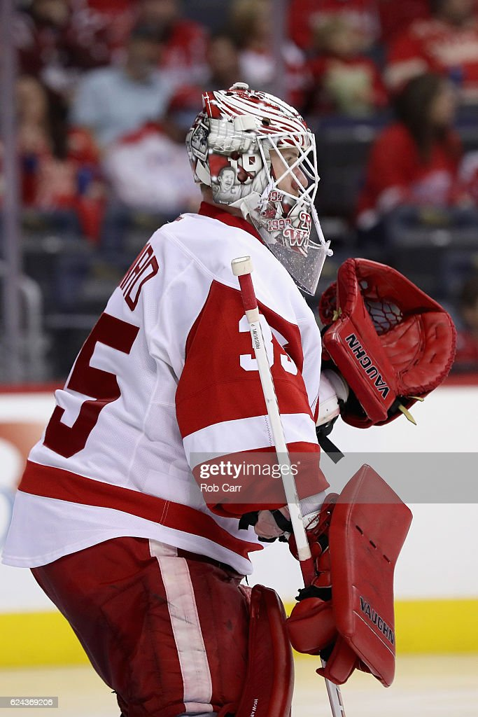 Goalie Jimmy Howard #35 of the Detroit Red Wings follows play against the Washington Capitals in the second period at Verizon Center on November 18, 2016 in Washington, DC.