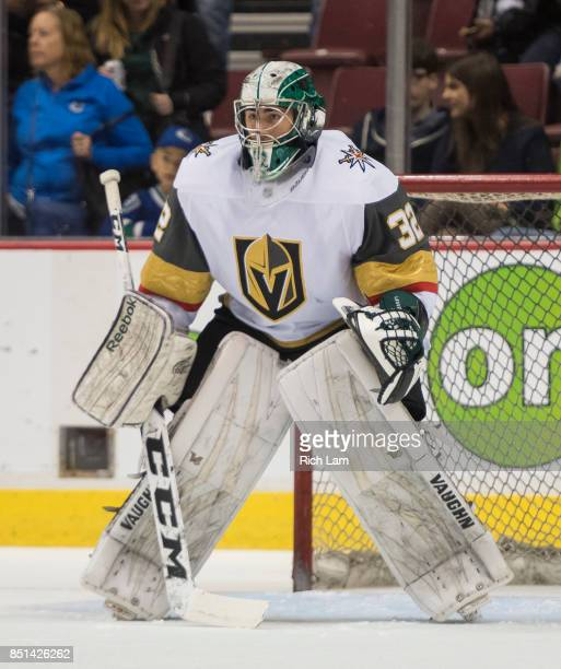 Goalie Jiri Pateraof the Las Vegas Golden Knights before a game against the Vancouver Canucks in NHL preseason action on September 17 2017 at Rogers...