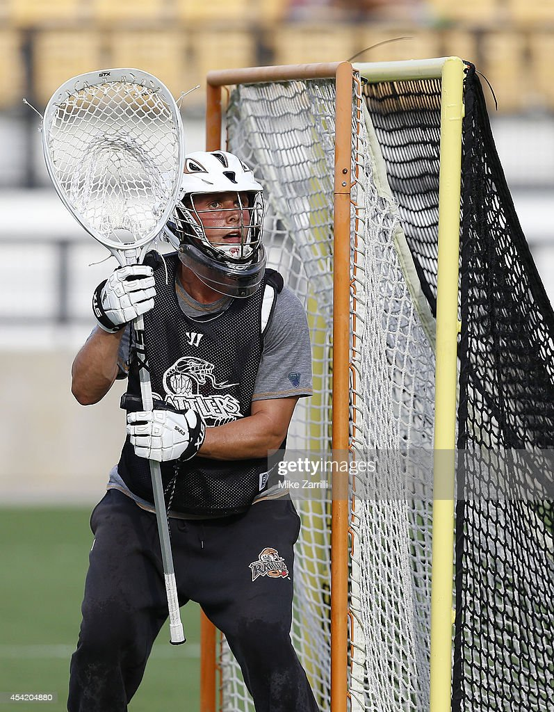 Goalie John Galloway #15 of the Rochester Rattlers warms up before the 2014 Major League Lacrosse Championship Game against the Denver Outlaws at Fifth Third Bank Stadium on August 23, 2014 in Kennesaw, Georgia.