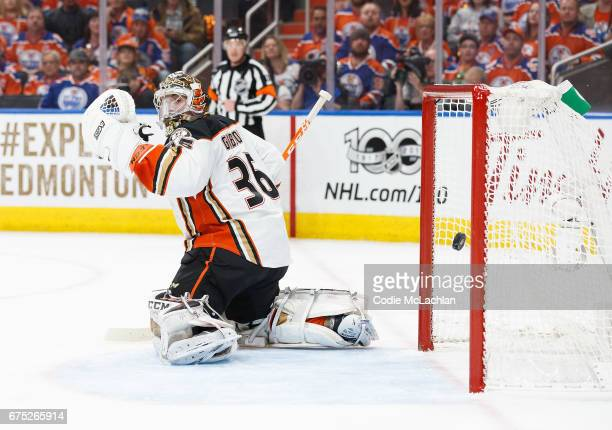 Goalie John Gibson of the Anaheim Ducks can't stop a goal by the Edmonton Oilers in Game Three of the Western Conference Second Round during the 2017...