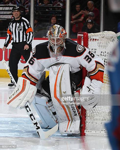 Goalie John Gibson of the Anaheim Ducks defends the goal against the Colorado Avalanche at Pepsi Center on April 9 2016 in Denver Colorado the Ducks...
