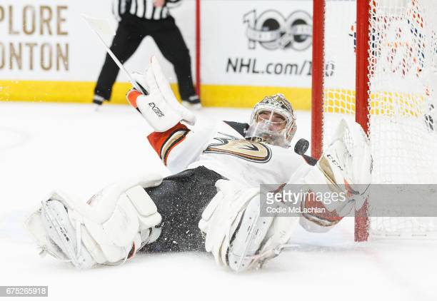 Goalie John Gibson of the Anaheim Ducks makes a save against the Edmonton Oilers in Game Three of the Western Conference Second Round during the 2017...