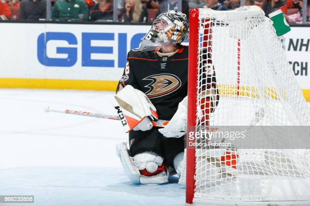 Goalie John Gibson of the Anaheim Ducks reacts after being scored on by the Montreal Canadiens during the second period of the game at Honda Center...