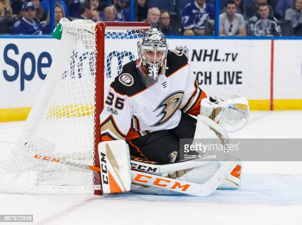 Goalie John Gibson of the Anaheim Ducks skates against the Tampa Bay Lightning at Amalie Arena on October 28 2017 in Tampa Florida 'n