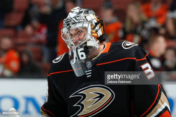 Goalie John Gibson of the Anaheim Ducks skates during warmup before the game against the Montreal Canadiens at Honda Center on October 20 2017 in...