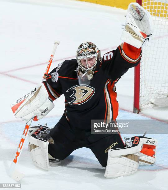 Goalie John Gibson of the Anaheim Ducks tends net during the second period of the game against the Calgary Flames at Honda Center on April 4 2017 in...