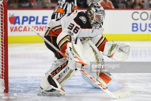 Goalie John Gibson of the Anaheim Ducks tends the net against the Philadelphia Flyers during the second period at Wells Fargo Center on October 24...