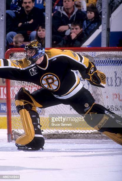 Goalie John Grahame of the Providence Bruins makes the save during an AHL game in February 1998