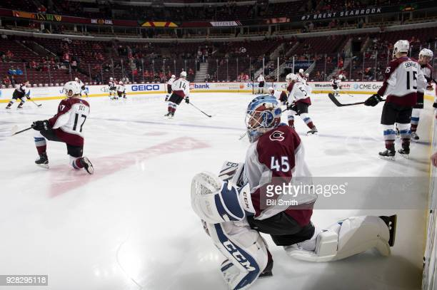Goalie Jonathan Bernier of the Colorado Avalanche warms up prior to the game against the Chicago Blackhawks at the United Center on March 6 2018 in...