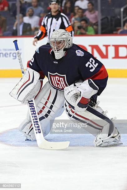 Goalie Jonathan Quick of Team USA tends the net against the Team Finland in the second period during the pretournament World Cup of Hockey game at...