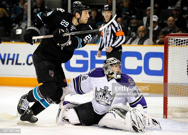 Goalie Jonathan Quick of the Los Angeles Kings make a save in the second period against the San Jose Sharks during an NHL hockey game at the HP...