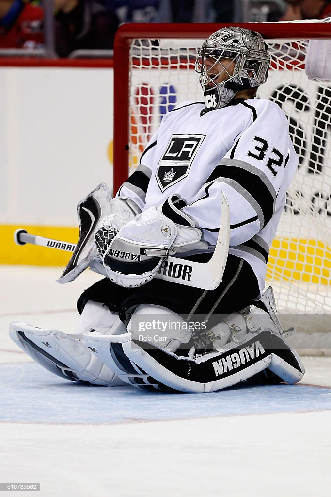 Goalie Jonathan Quick Of The Los Angeles Kings Stretches In The Goal