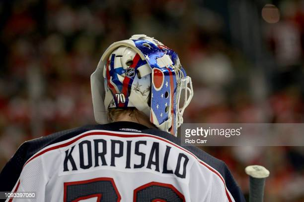 Goalie Joonas Korpisalo of the Columbus Blue Jackets looks on in the second period against the Washington Capitals at Capital One Arena on January 12...