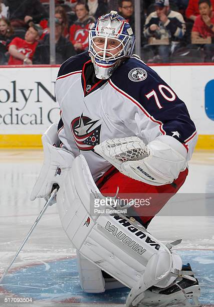 Goalie Joonas Korpisalo of the Columbus Blue Jackets protects his goal during an NHL hockey game against the New Jersey Devils at Prudential Center...