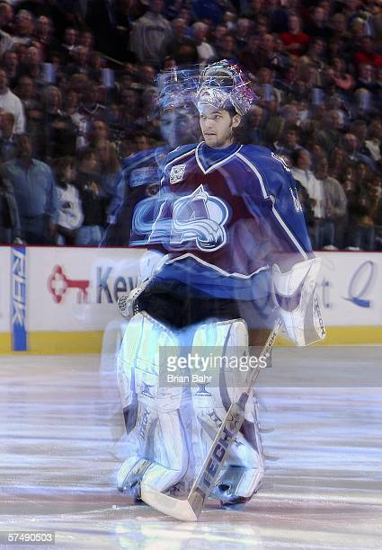 Goalie Jose Theodore of the Colorado Avalanche paces in place during the National Anthem before the first period of game four of the Western...