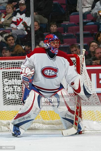 Goalie Jose Theodore of the Montreal Canadians is on the ice during the game against the New Jersey Devils at the Continental Airlines Arena on...
