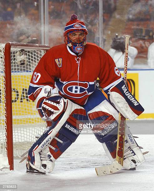 Goalie Jose Theodore of the Montreal Canadiens in the net during the game against the Edmonton Oilers at the Molson Canadien Heritage Classic on...