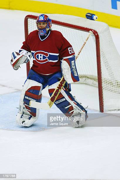 Goalie Jose Theodore of the Montreal Canadiens protects the net during the game against the Atlanta Thrashers on January 15 2002 at Phillips Arena in...