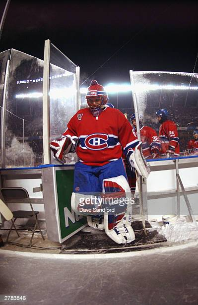 Goalie Jose Theodore of the Montreal Canadiens walks on the ice during the game against the Edmonton Oilers at the Molson Canadien Heritage Classic...