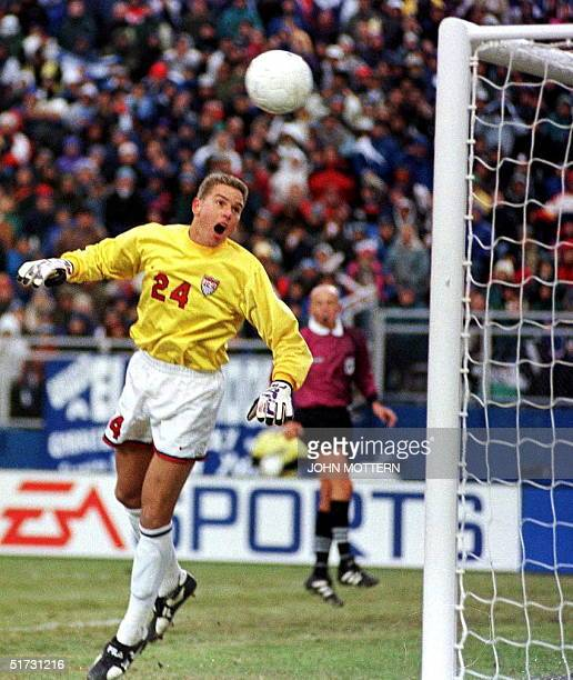 US goalie Juergen Sommer watches as an El Salvador direct kick bounces off the goal post in the second half of action at Foxboro Stadium in...