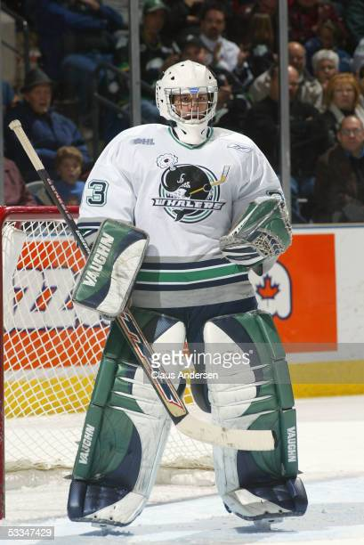 Goalie Justin Garay of the Plymouth Whalers stand in front of the net during a Ontario Hockey League game against the London Knights at the John...