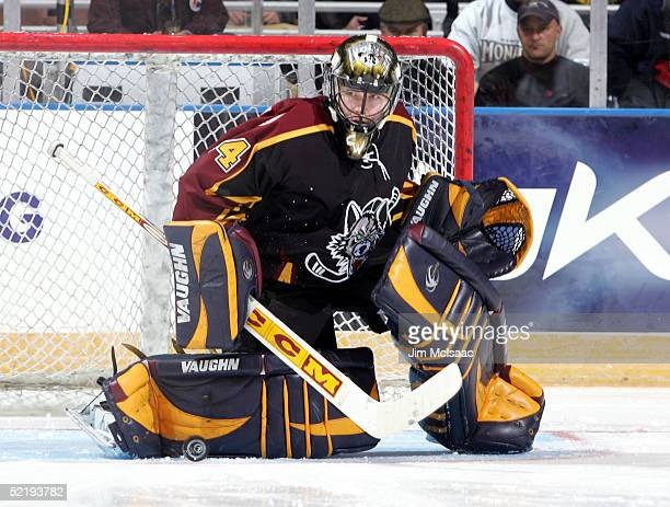 Goalie Kari Lehtonen of the Chicago Wolves makes a save during the American Hockey League All Star Skills Competition on February 13 2005 at Verizon...
