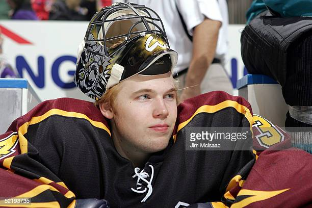 Goalie Kari Lehtonen of the Chicago Wolves waits for the next event at the American Hockey League All Star Skills Competition on February 13 2005 at...