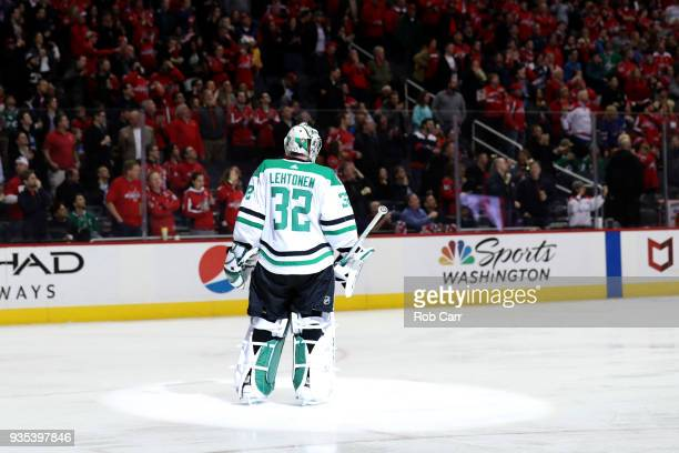 Goalie Kari Lehtonen of the Dallas Stars looks on after giving up a second period goal against the Washington Capitals at Capital One Arena on March...