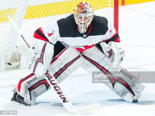 Goalie Keith Kinkaid of the New Jersey Devils protects the net during the second period of the game against the Anaheim Ducks at Honda Center on...