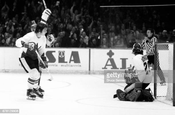 Goalie Ken Dryden and Brad Park of Canada are dejected after giving up a goal to the Soviet Union during a game in the 1972 Summit Series circa...