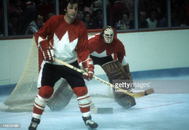 Goalie Ken Dryden and Rod Seiling of Canada defend the net during the game against the Soviet Union in Game 1 of the 1972 Summit Series on September...