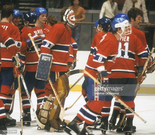 Goalie Ken Dryden celebrates with his teammates after they defeated the New York Rangers circa 1978 at Madison Square Garden in New York New York