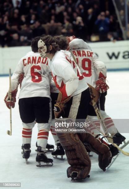 Goalie Ken Dryden of Canada celebrates along with his teammates after Game 6 of the 1972 Summit Series on September 24 1972 at the Luzhniki Ice...