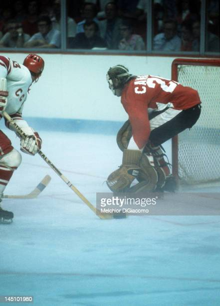 Goalie Ken Dryden of Canada defends the net during the game against the Soviet Union in Game 1 of the 1972 Summit Series on September 2 1972 at the...