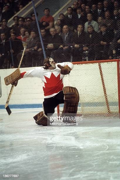 Goalie Ken Dryden of Canada follows the puck after making the save during the game against the Soviet Union in the 1972 Summit Series at the Luzhniki...