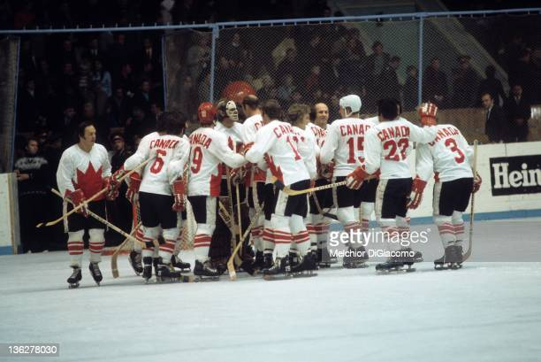 Goalie Ken Dryden of Canada is congratulated by his teammates after defeating the Soviet Union during Game 6 of the 1972 Summit Series on September...