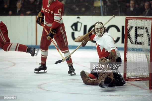 Goalie Ken Dryden of Canada looks to make the save against the Soviet Union during the 1972 Summit Series at the Luzhniki Ice Palace in Moscow Russia
