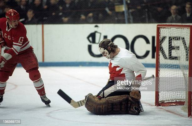 Goalie Ken Dryden of Canada makes the save on Boris Mikhailov of the Soviet Union during the 1972 Summit Series at the Luzhniki Ice Palace in Moscow...
