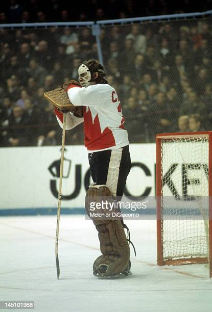 Goalie Ken Dryden of Canada rests during the game against the Soviet Union in the 1972 Summit Series in September 1972 at the Luzhniki Ice Palace in...