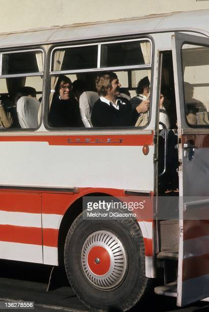 Goalie Ken Dryden of Canada rides the bus during the 1972 Summit Series in Moscow Russia
